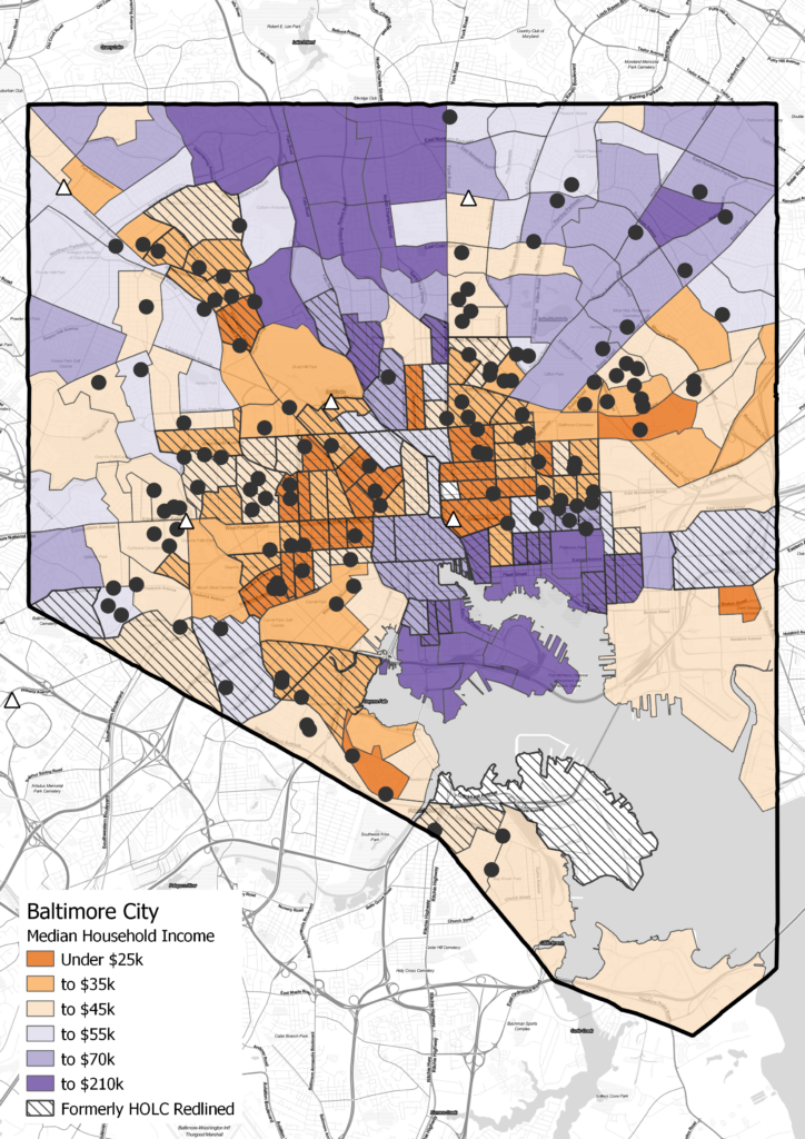 This map shows the locations of justice-involved youth along with the median household incomes by census block group.